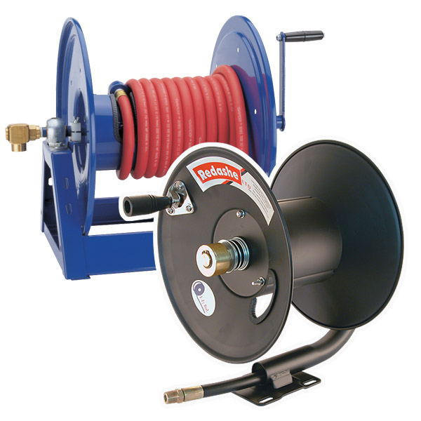 Powder coated manual rewind hose reels