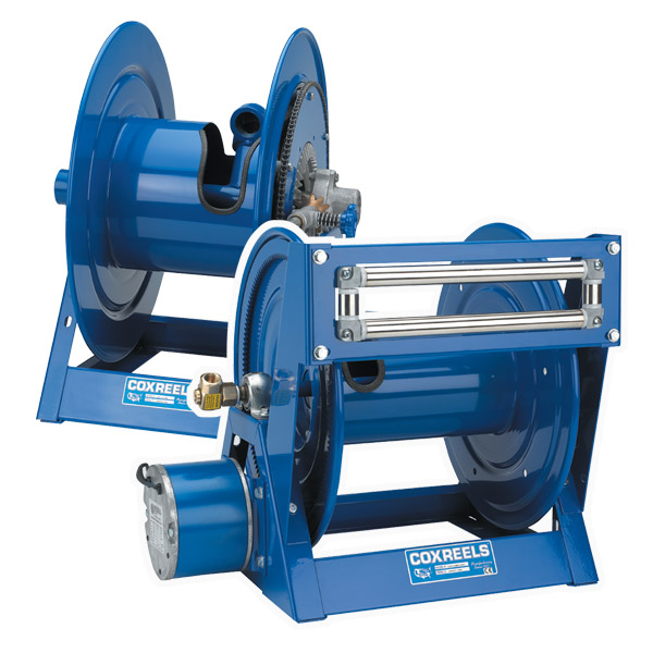 Powder coated power rewind hose reels