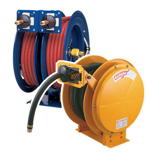 Powder coated spring rewind hose reels