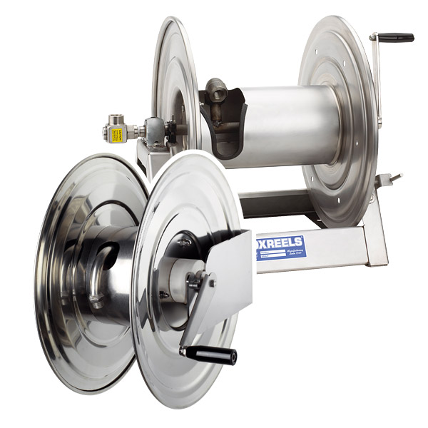 Stainless steel manual rewind hose reels