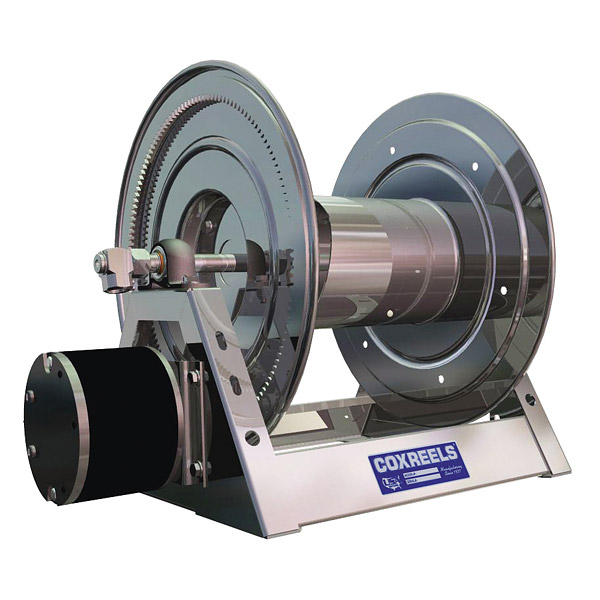 Stainless steel power rewind hose reels